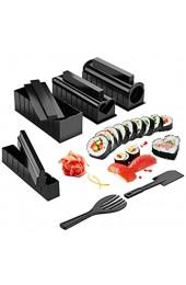 Zhangpu Sushi Maker Kit 10 TLG Komplett Sushi Making Kit 5 Formen DIY Selber Sushi Machen Set mit hochwertigem Sushi Messer Perfekt für Sushi DIY auch als Geschenk