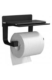 GERUIKE Papierrollenhalter Toilette Selbstklebend Klopapierhalter Wc Halter Rollenhalter Toilettenpapierhalter mit Ablage für Handy Aluminium Schwarz