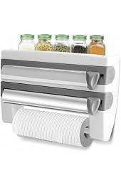 Greensen Wandrollenhalter Schneidabroller Rollenhalter für Folie Küchenrolle Papierrollenhalter Frischhaltefolie Lagerregal Multifunktionale Küche Badezimmer Frischhaltefolie Tissue Storage Rack