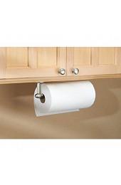 iDesign Küchenrollenhalter kleiner Papierrollenhalter aus Metall wandmontierter Küchenhelfer für eine Küchenpapierrolle mattsilberfarben
