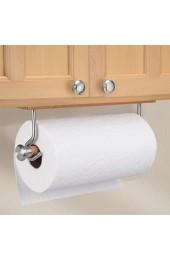 iDesign Küchenrollenhalter wandmontierter Papierrollenhalter aus Bambus und Edelstahl Wandrollenhalter für 1 Rolle Küchenkrepp braun und mattsilberfarben