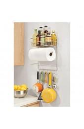 mDesign Küchenrollenhalter – platzsparender Papierrollenhalter zur Wandmontage mit integriertem Gewürzregal aus Metall – praktischer Küchenhelfer – mattsilberfarben