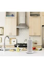 Topsky Küchenrollenhalter,Küchenrollenhalter aus Harz,mit Marmoreffekt,mit Harz Basis,Halter aus Edelstahl (Weiß)