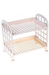 1pc Lagerregal Doppelschichtregal Regal Aushöhlung Lagerhalter Kosmetische Gewürzhalter Wohnzimmer Display Racks Beige