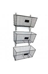 L.TSN Packung mit 3 Aufbewahrungskörben Rack Wandmontage Draht Obst oder produzieren Aufbewahrungsbrief Mail Pantry Organisation für Küche Pantry Badezimmer Wohnzimmer