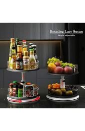 Qisiewell Lazy Susan Drehteller mit 2 Ebenen höhenverstellbar drehbar Gewürz-Organizer in Küche Badezimmer Schrank 27 9 cm Schwarz/Weiß (transparent 2 Ebenen/groß + klein)