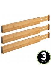mDesign 3er-Set verstellbarer Schubladeneinsatz – der perfekte Schubladen Organizer – ideal als flexibler Schubladenteiler aus Bambus – für Schrank und Kommode – bambusfarben