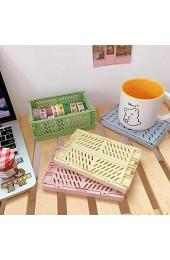 PATHD Faltbare Aufbewahrungsbox Mini-Schubladen-Organizer aus Kunststoff für Zuhause Büro Schlafzimmer Küche stapelbar Schreibtisch-Halter (grün)