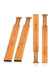 Wooden-Life Schubladen Organizer Schubladentrenner Schubladenteiler Die 4er-Set Bambus Schubladentrenner geeignet für Küche Kommode Schlafzimmer Baby Schublade Bad Schreibtisch