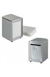 2 x Serviettenspender Retro Metall kleine Gastro Serviettenhalter für Eisdiele Café Bistro HBT: 15x9 5x11 Silber