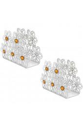 BESTonZON 2 Stück Edelstahl Serviettenhalter Blumen Serviettenständer Tissue Box für Hotel Hochzeit Party Tischdeko