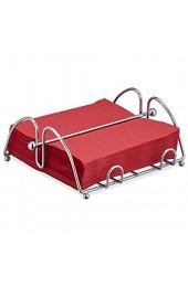 Relaxdays Serviettenhalter mit Beschwerer für 33x33 cm Servietten Edelstahl-Optik Serviettenständer Metall silber 10027738