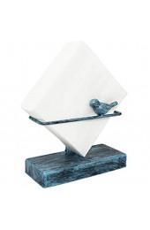 Serviettenhalter aus Gusseisen Vogel-Motiv freistehend aus Metalldraht türkis